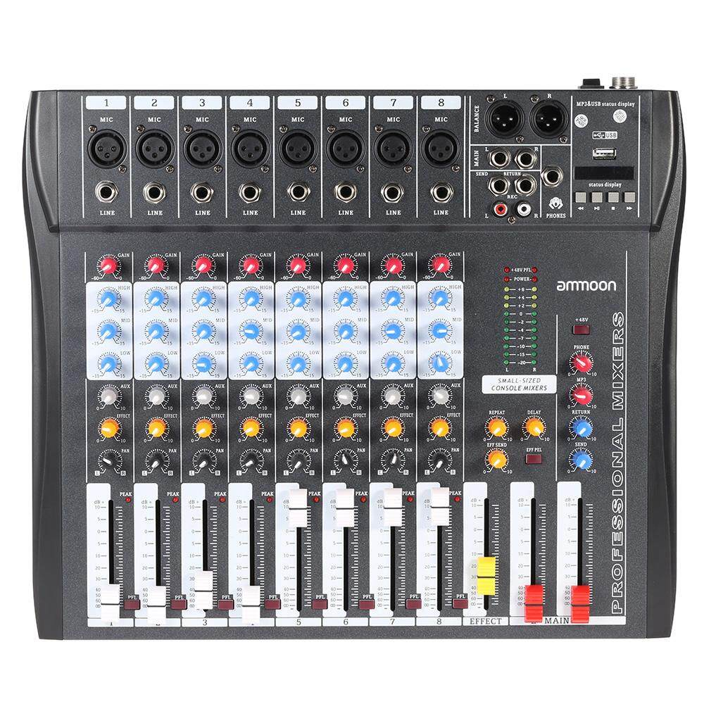 NEW brand black EU PLUG CT80S-USB 8 Channel Digital Mic Line Audio Mixing  Mixer Console with 48V Phantom Power for Recording DJ Stage Karaoke