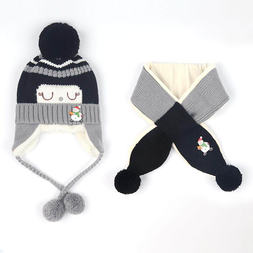 c4258f3c328 Baby Boys Girls Winter Beanie Warm Hat Children Knitting Ball Hats Scarf  Sets