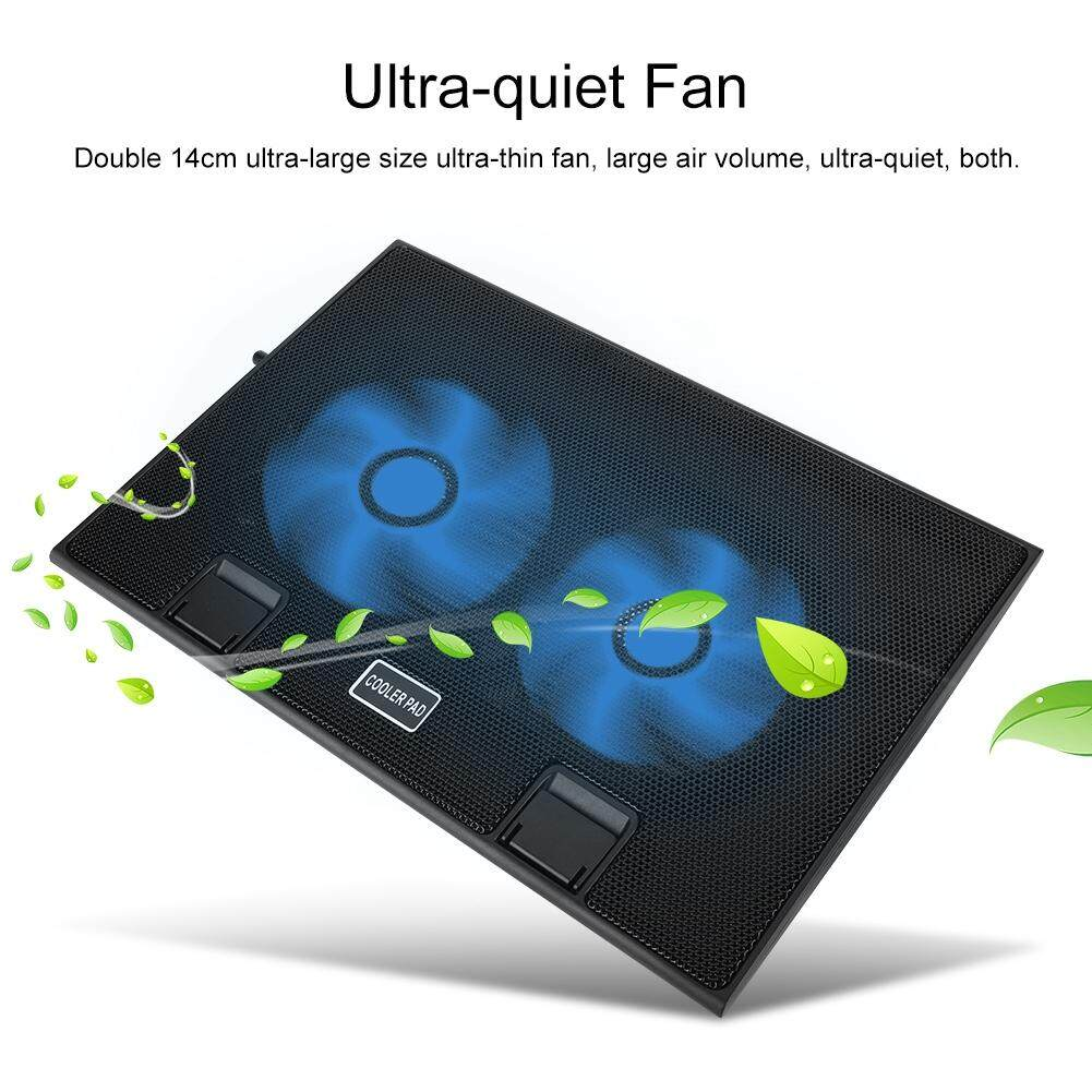 Qianmei Light and Thin Mute Notebook Laptop USB Cooling Pad 2 Fans Cooler  Malaysia