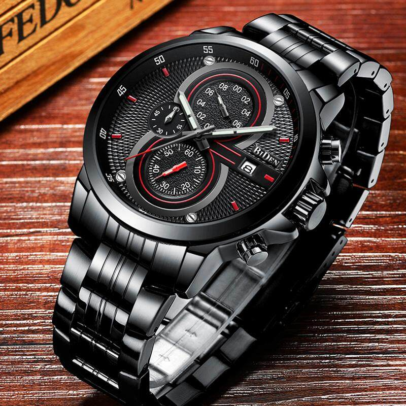 BIDEN Watch Men Full Steel Quartz Business Clock Fashion Casual Mens Watches Top Brand Luxury Chronograph Waterproof Sport Wrist Watch Malaysia