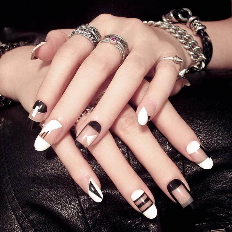 Fashion Geometry Design Fake Nail Black White False Nails Tips DIY Nail Art Manicure Product