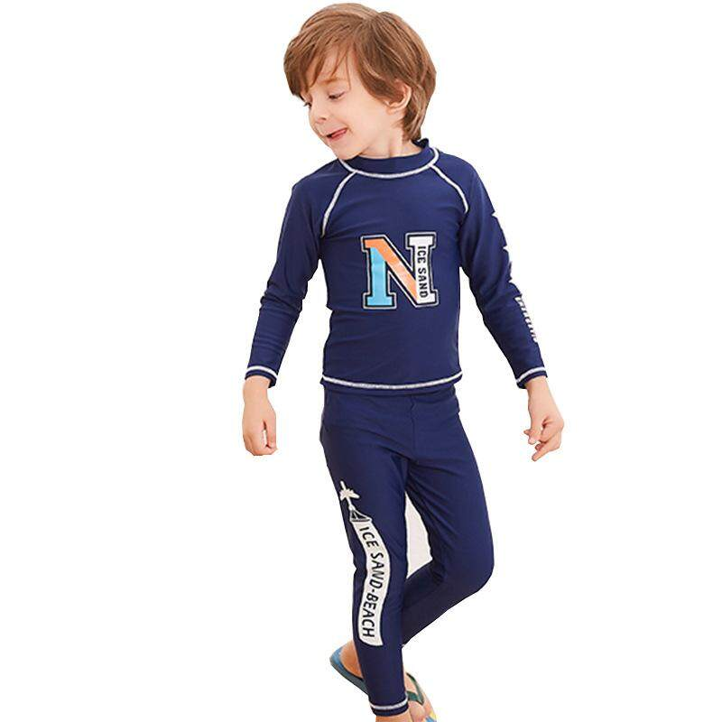 2f1f0e4d9a Two Pieces Boys Beach Swim Wear Rash Guard Full Body Long Sleeve Kids  Diving Snokeling Scuba