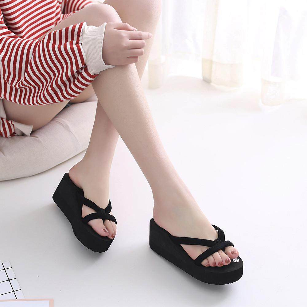 cf37f22643ab1 Carolaneshop Women s Summer Fashion Slipper Flip Flops Beach Wedge Thick  Sole Heeled Shoes