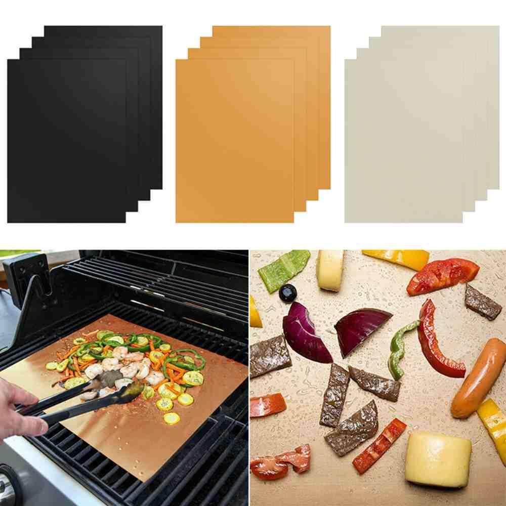 Yuero 4Pcs 3 Colors BBQ Grill Mat Non-Stick Works on Gas, Charcoal, Electric Grills Heat Resistant Barbecue Sheets For Grilling Meat, Veggies, Seafood For Camping Outdoor BBQ