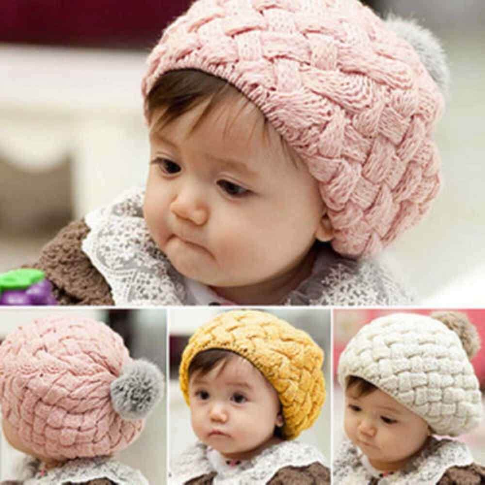 Jnan Rabbit Hair Ball Cute Baby Girls Kids Toddler Winter Warm Knitted  Crochet Beanie Hat Beret bba20c56cdc0