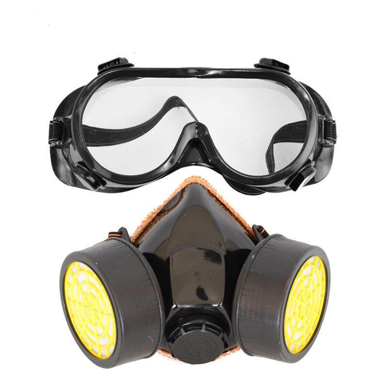 Gas Mask Emergency Survival Safety Respiratory Gas Mask Anti Dust Respirator Paint Mask with 2 Double Protection Filters
