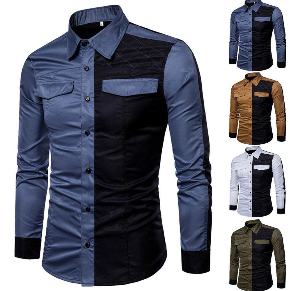 6fb2fd6f Tideshop Mens Long Sleeve Oxford Formal Casual Suits Slim Fit Tee Dress  Shirts Blouse Top