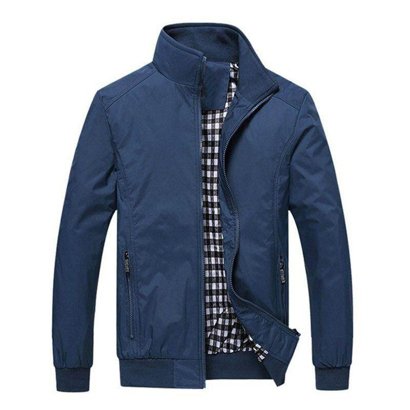 4b1a16cf08b New Men s Spring Autumn Polyester Slim Fit Thin Stand Button Male Casual Jacket  Men Short Windbreaker