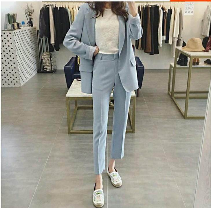Korean Fashion 2 Pecs Office Lady Long Pant + Suits Blazer Formal Blazer Coat For Business Women Ladies Office Work Wear Formal Blazers Jackets+pants By Customer Is God We Love You.