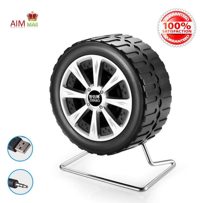 Portable Wheel Shaped 2.0 Stereo with Bass Diaphragm PC Laptop Mobile USB Speaker Malaysia
