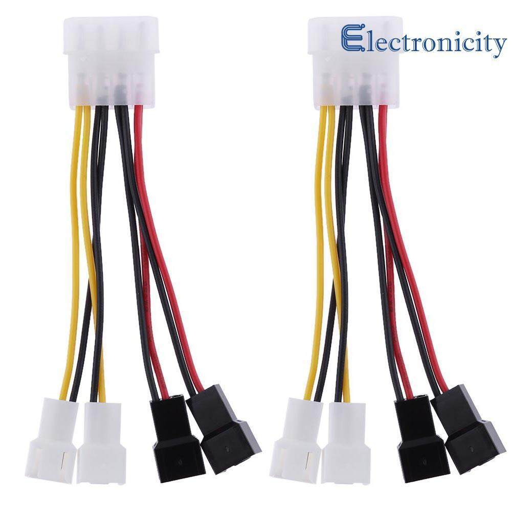 2pcs 4 - Pin Molex to 3 - Pin fan Power Cable Adapter Connector 12v*2  /  5v*2 Malaysia