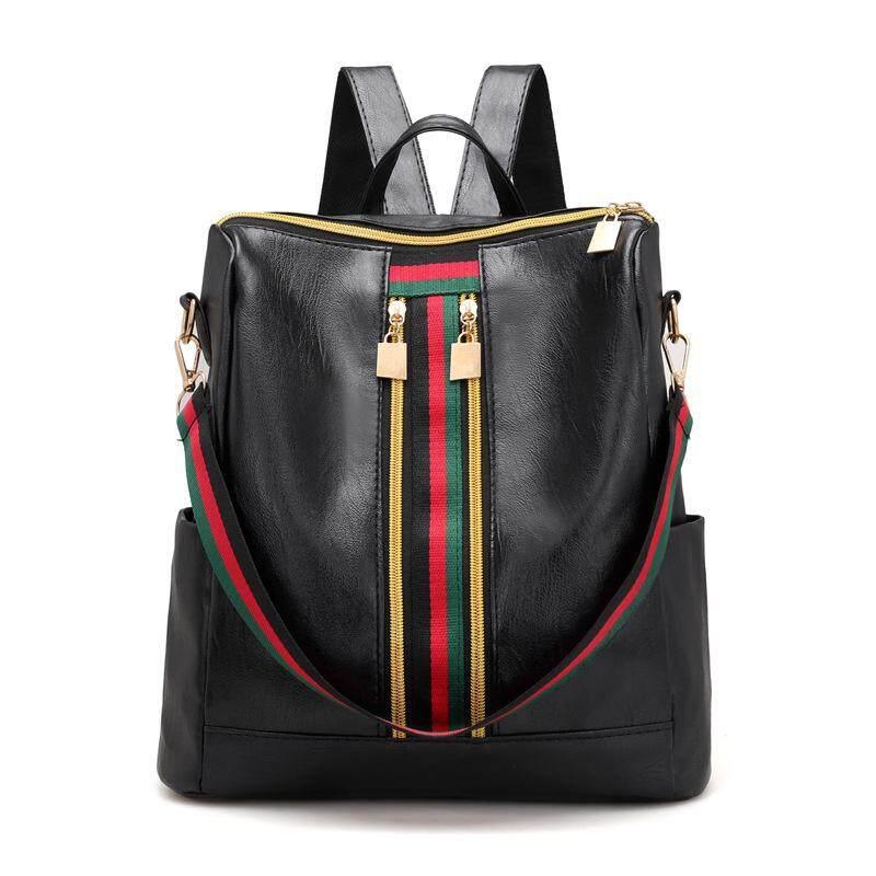 d427f7940a Leisure Simple Zipper Women Travel Stripe Mini Small Backpacks PU Leather  Waterproof Totes Luxury Luggage Duffle