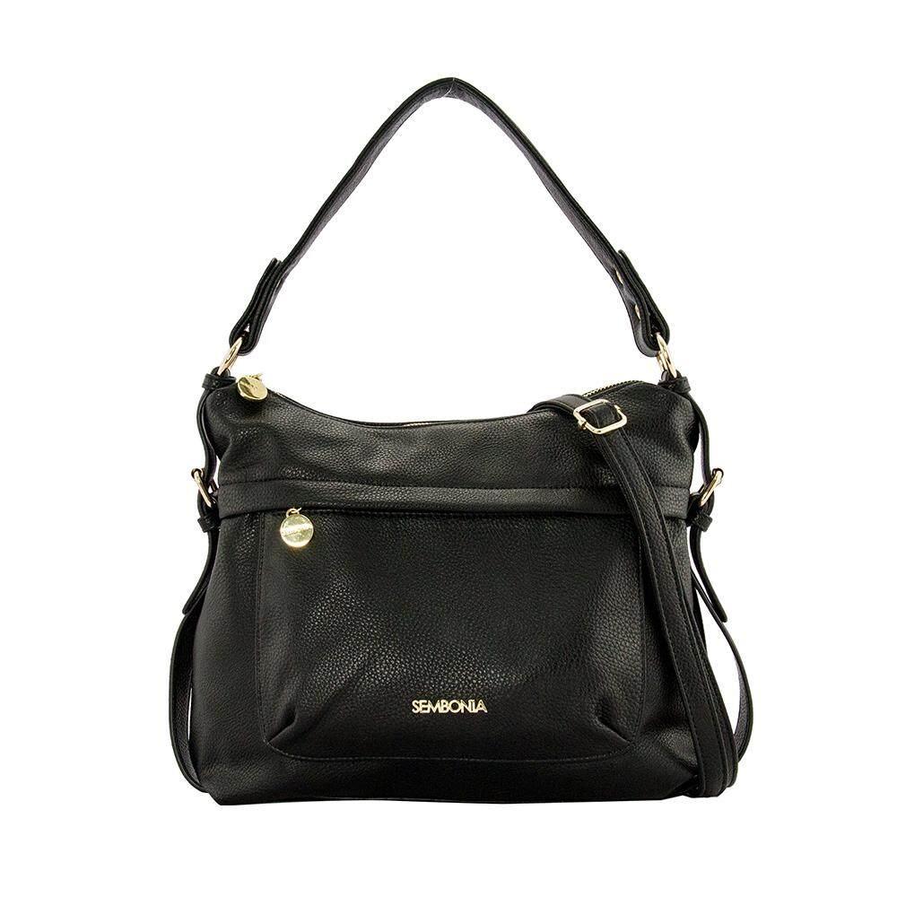 Sembonia Synthetic Leather Hobo Bag Black