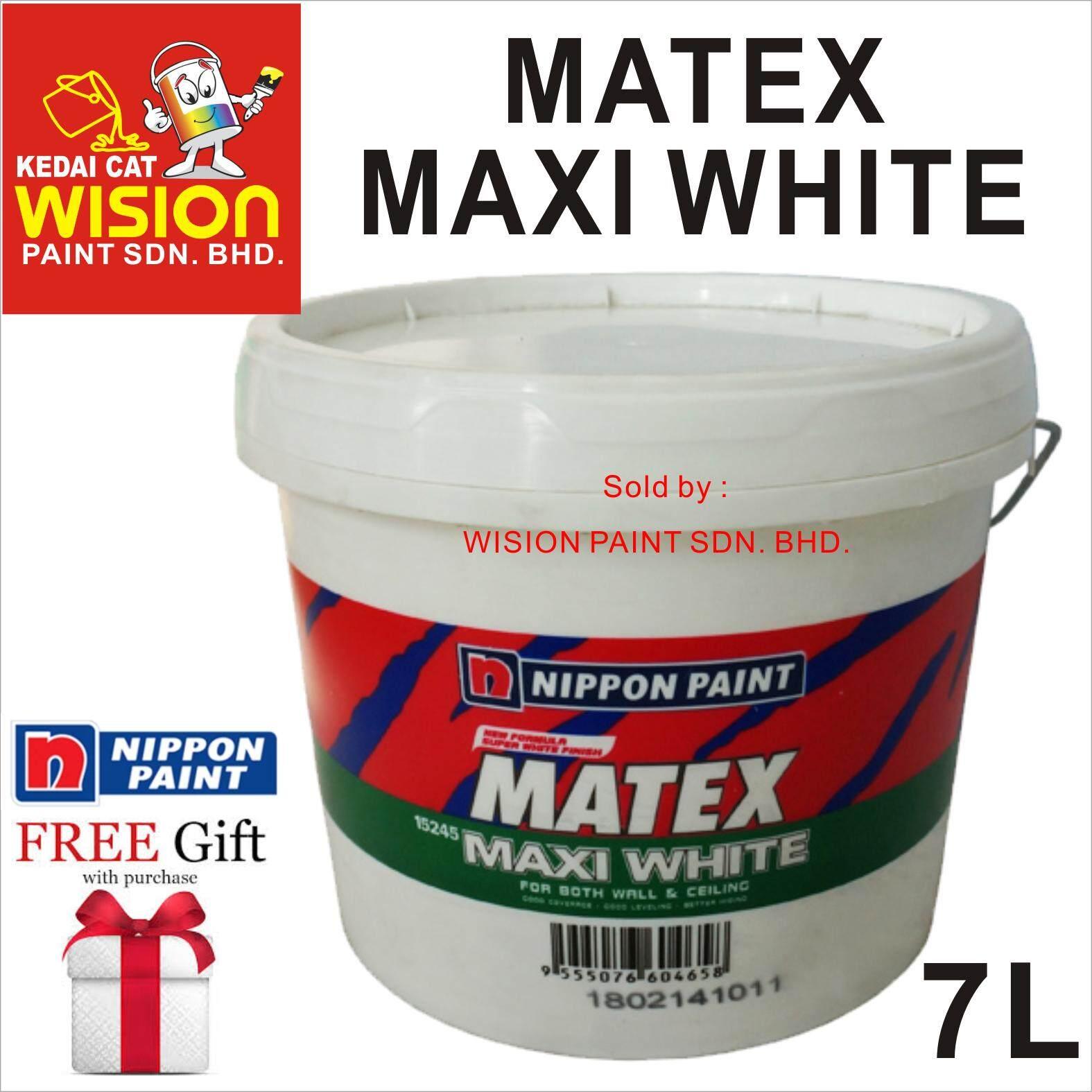 12245 MAXI WHITE (7L) NIPPON SUPER MATEX EMULSION PAINT ALIRAN DAN RATAAN YANG BAIK KUASA PENUTUP YANG CEMERLANG CAT PUTIH