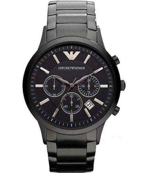 Authentic Emporio Armani Mens Chronograph Black Ion-Pleated Watch For Men AR2453 Jam Tangan Lelaki Malaysia