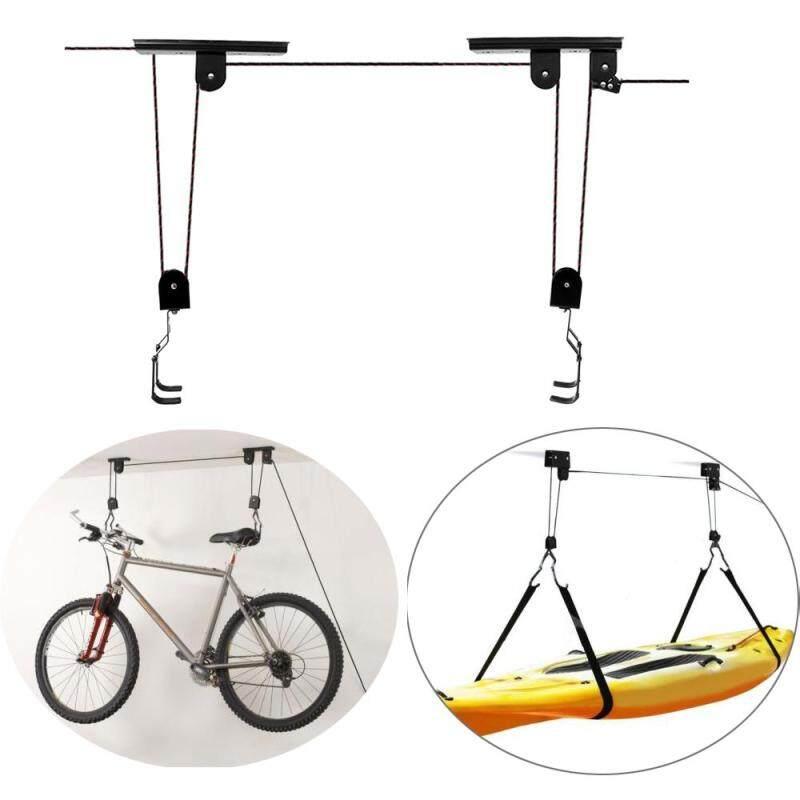Bike Lift Hoist Pulley System Ceiling Hook Garage Storage Rack Kayak Ladders