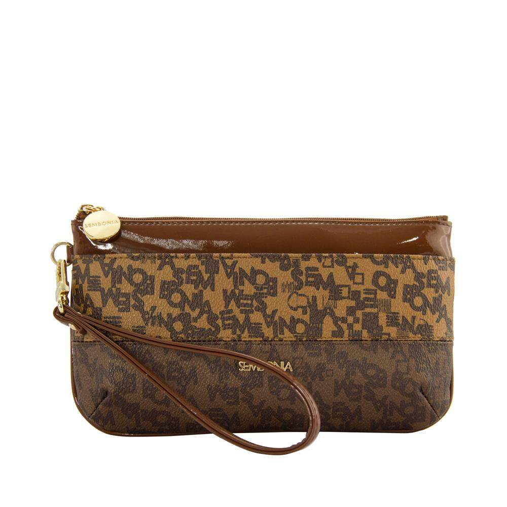 Sembonia Coated Canvas Trimmed Microfiber Wristlet Light Brown