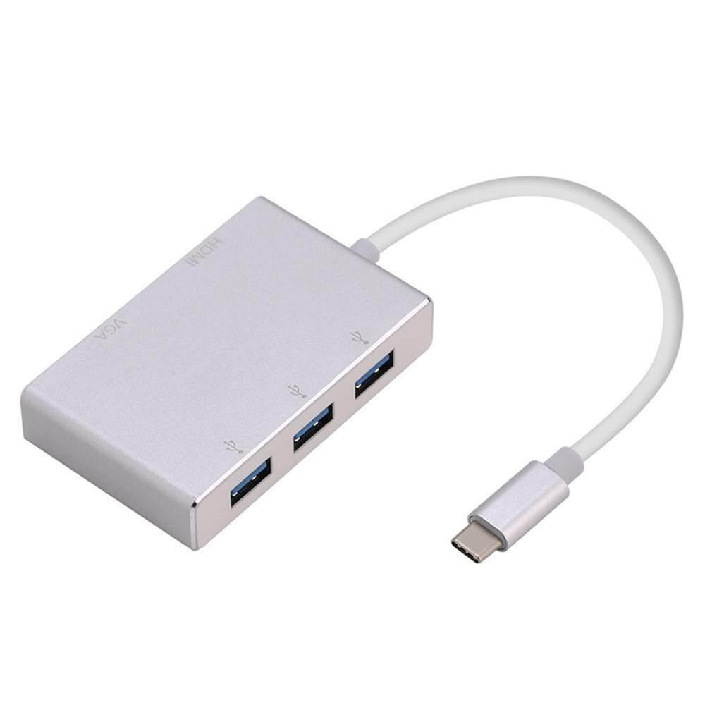 GoodGreat TYPE-C To HDMI+VGA+USB3 0 Adapter Type C To VGA HDMI 4K UHD  Converter Adaptor Dual Screen Display - intl