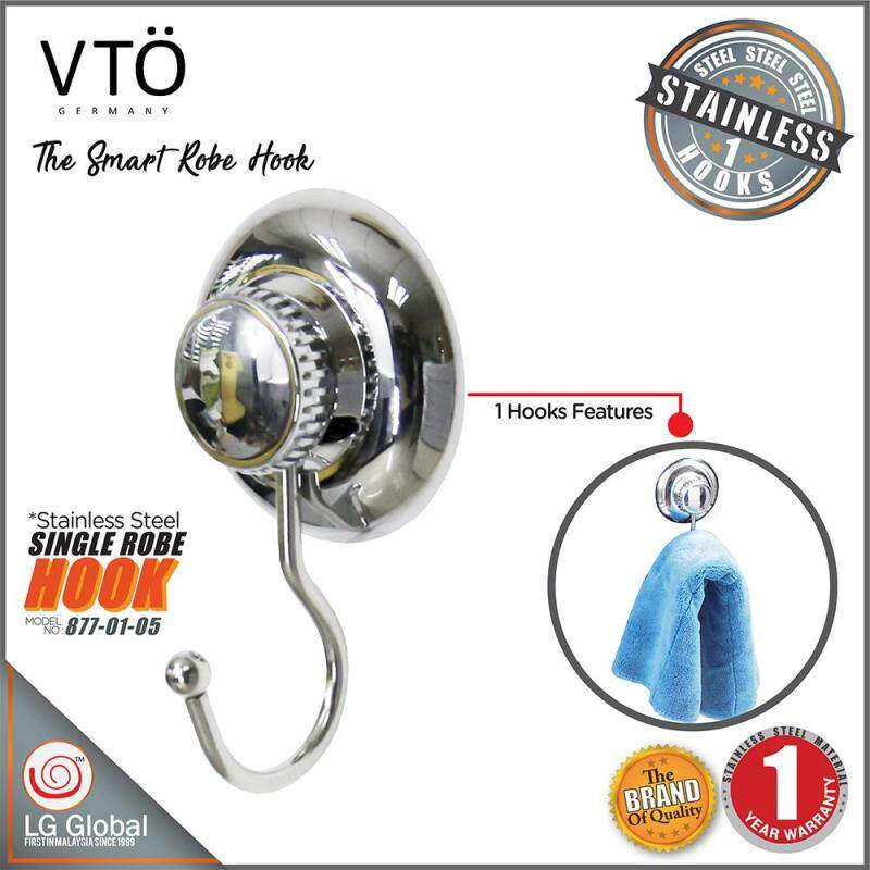 VTO Strong ABS Material Vacuum Suction Roller Cup With Single Stainless Steel Hook Holder Hook Hanger Rack Kitchen Storage Organizer Bathroom Accessories 877-01-05 (Polished Chrome)