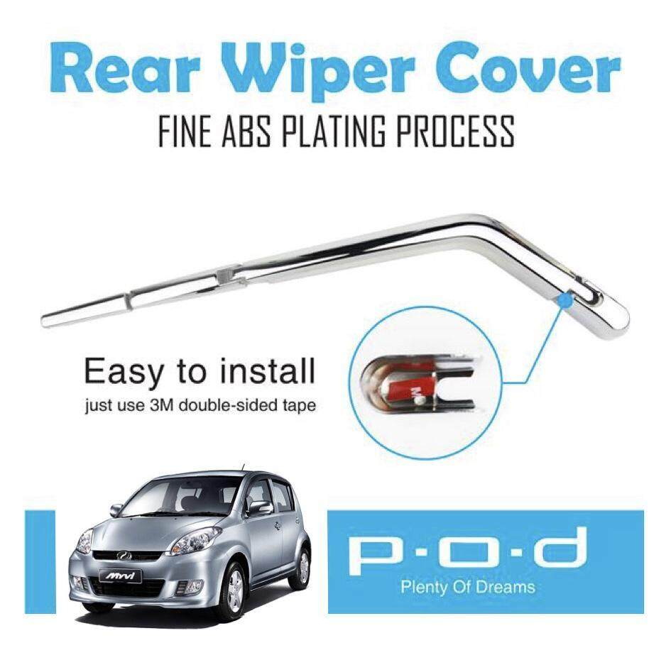 Perodua Myvi 2005-2015 Car Rear Window Wiper Chrome Cover Trim Fine Abs Plating Process (double Tape Provided) By M Sport Acc Online.