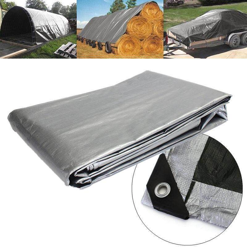 7.5x9m Heavy Duty Poly Tarps PE Tarpaulin Sheet Floor Cover UV Water Rot Proof Canvas Outdoor Waterproof Construction UV Protection