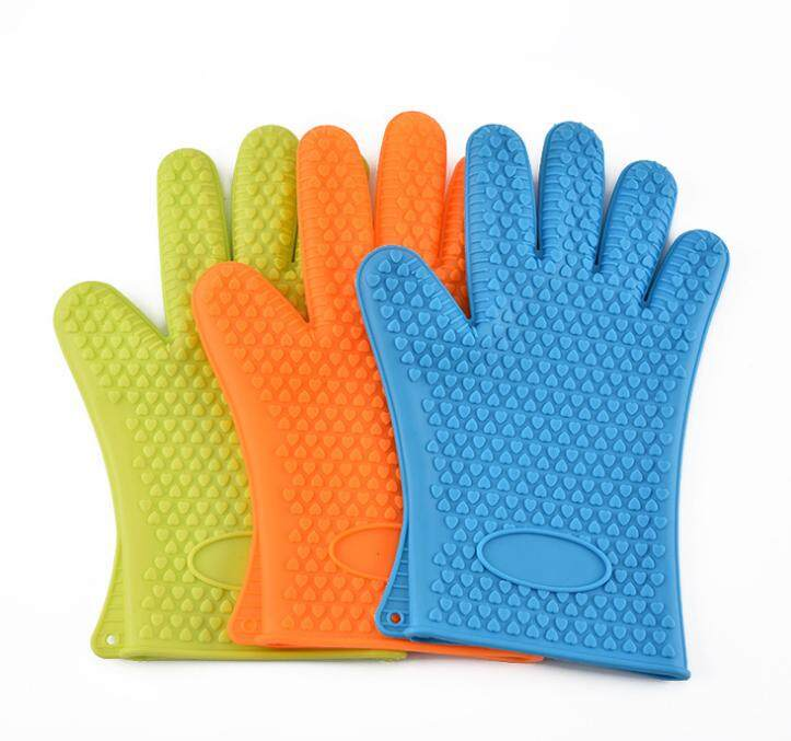 1Pc Silicone Gloves Heat Resistant Gloves Oven Glove Kitchen Microwave Cooking Glove(Blue)