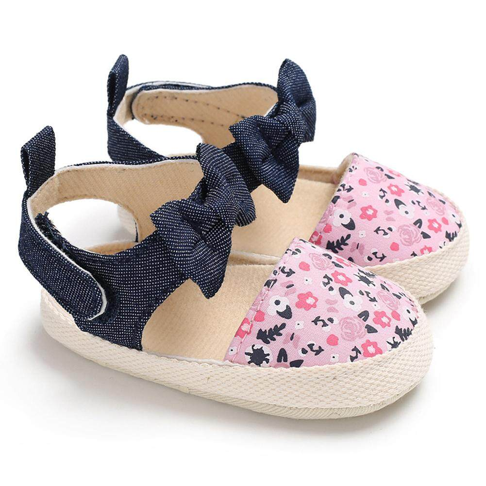 Kidlove Baby Girls Cotton Cloth Soft Sole Non-slip Shoes Bowknot Printing Princess  Shoes 62ff888aba92