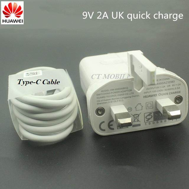 100% Original Huawei 9V2A Quick Charge Travel Charger Adapter + Data Type-C Cable