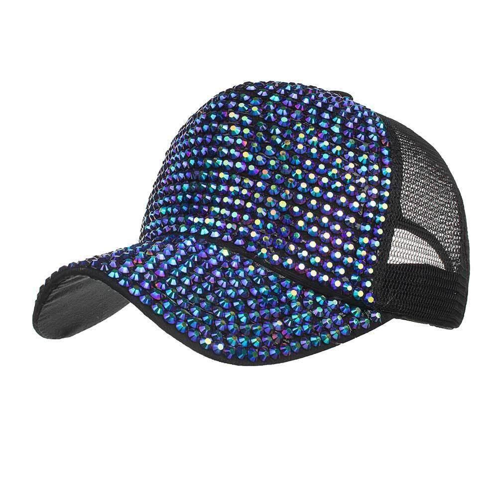 Women Rhinestone Hats Female Baseball Cap Bling Diamond Hat Fashion a5f932fd29e
