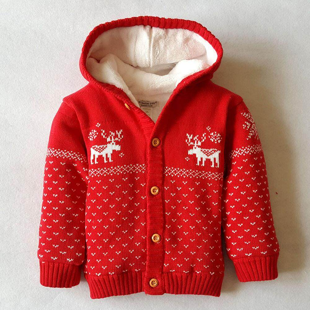 Tideshop Toddler Unisex Baby Button-Up Cotton Coat Deer Christmas Cardigan Sweater By Tideshop.