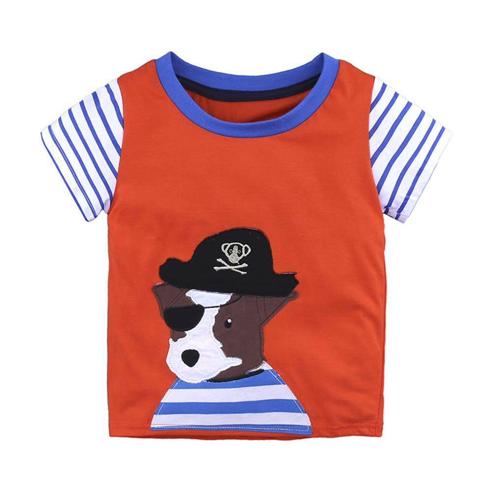 Cartoon Baby Girl Boy Short Sleeve T-Shirt Round Neck Soft Cotton Tops By Qimiao Store.