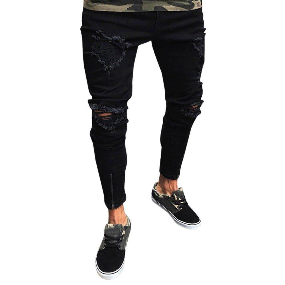 Men Slim Biker Zipper Denim Jeans Skinny Frayed Pants Distressed Rip Trousers By Sunshine Country.