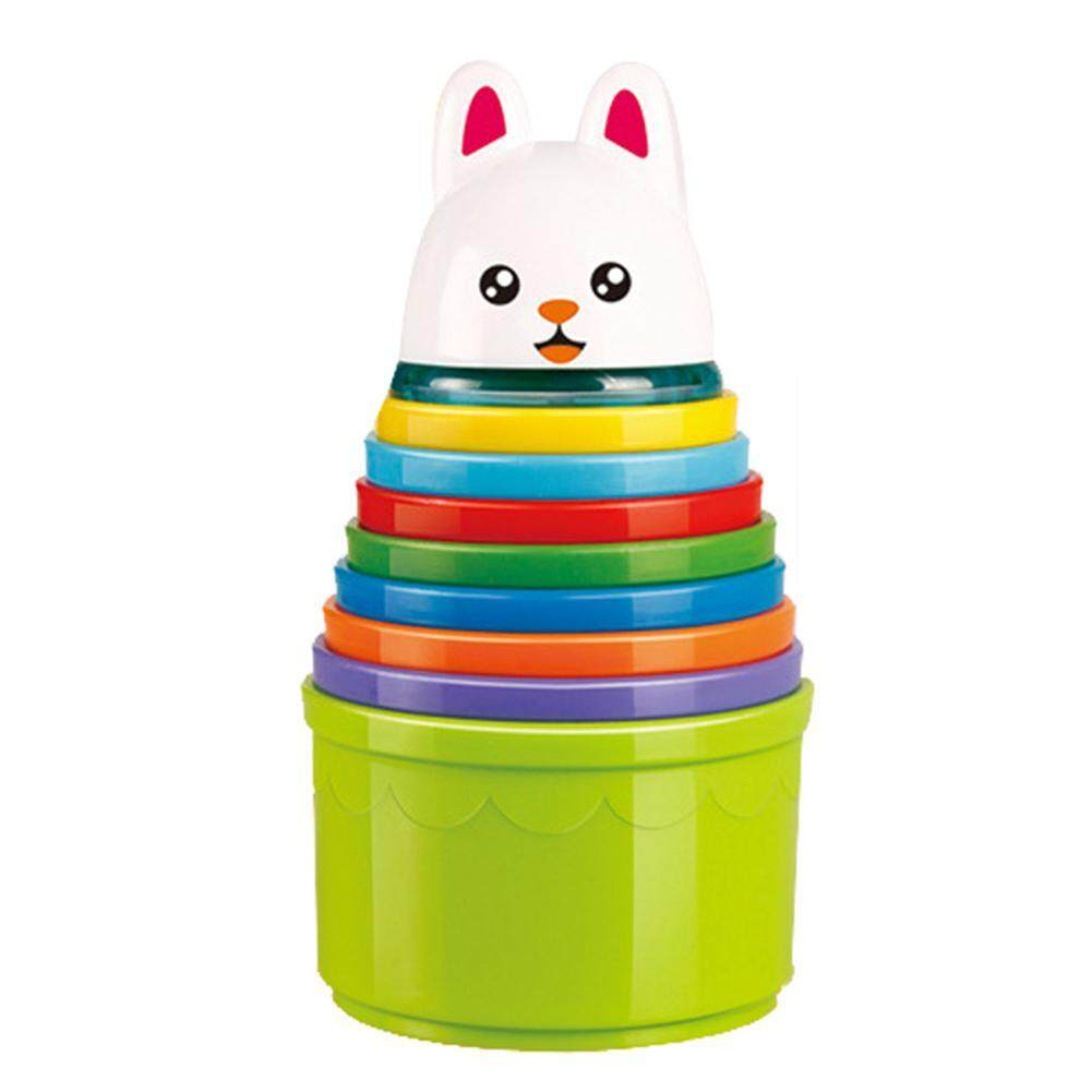 Kobwa Rainbow Stacking & Nesting Cups Baby Building Set,8 Pieces with Embossed Animal Characters,Educational Toys for Toddlers 1 -4 Years Old