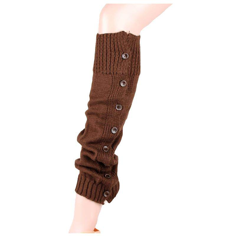 1 pair button knitting warm Leggings loose socks (Coffee)