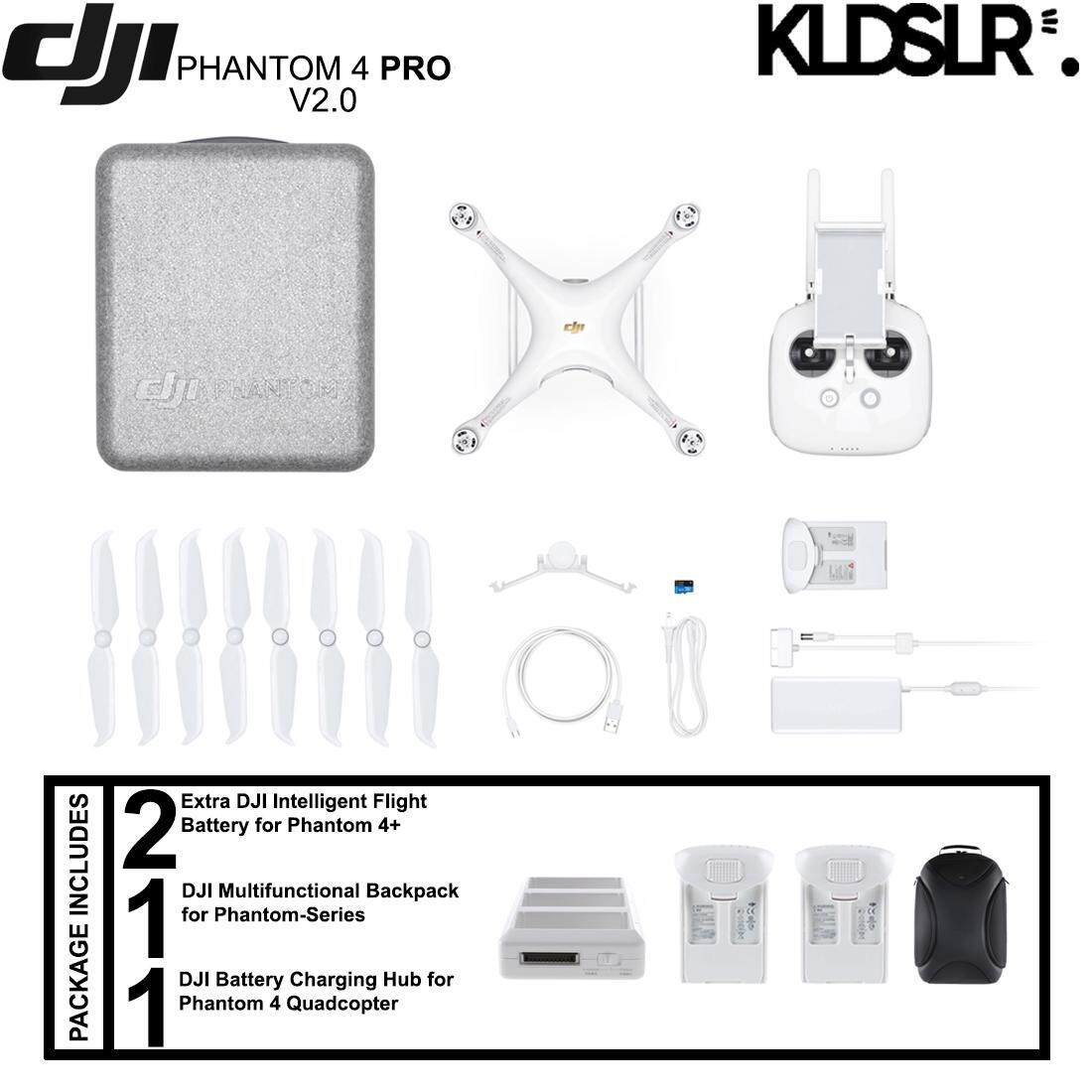 DJI Phantom 4 Pro+ Version 2.0 Quadcopter (FREE Extra 2 Original Batteries + Multifunctional Bag for Phantom-Series + Charging Hub)