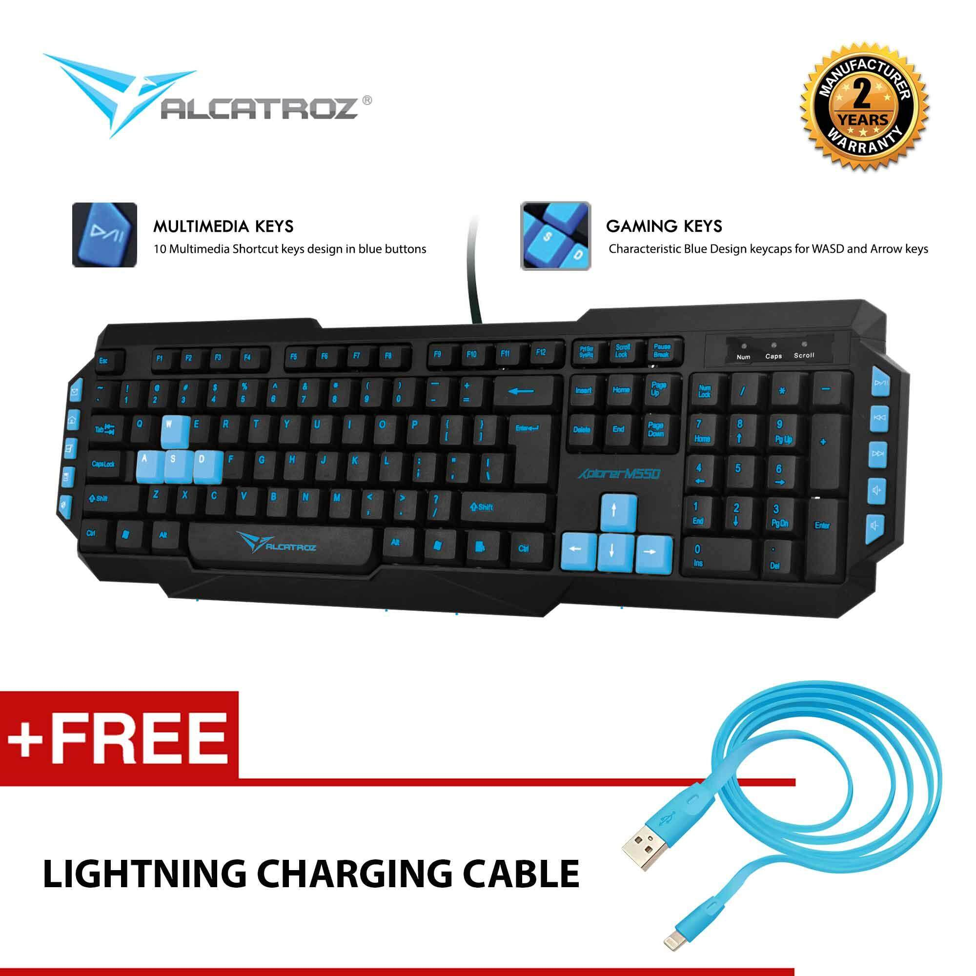 Alcatroz Xplorer M550 Multimedia USB Keyboard Free Lightning Smartphones Charging Cable Malaysia