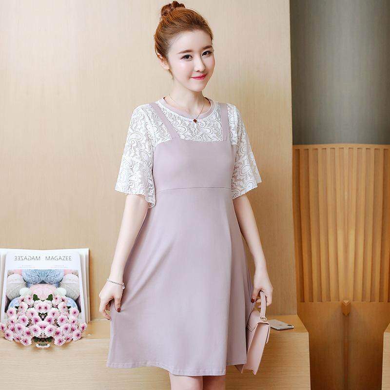Women Short Sleeve Invisible Breastfeeding Nursing Maternity Loose Plus  Lace Patchwork Dresses 9090ae296e57
