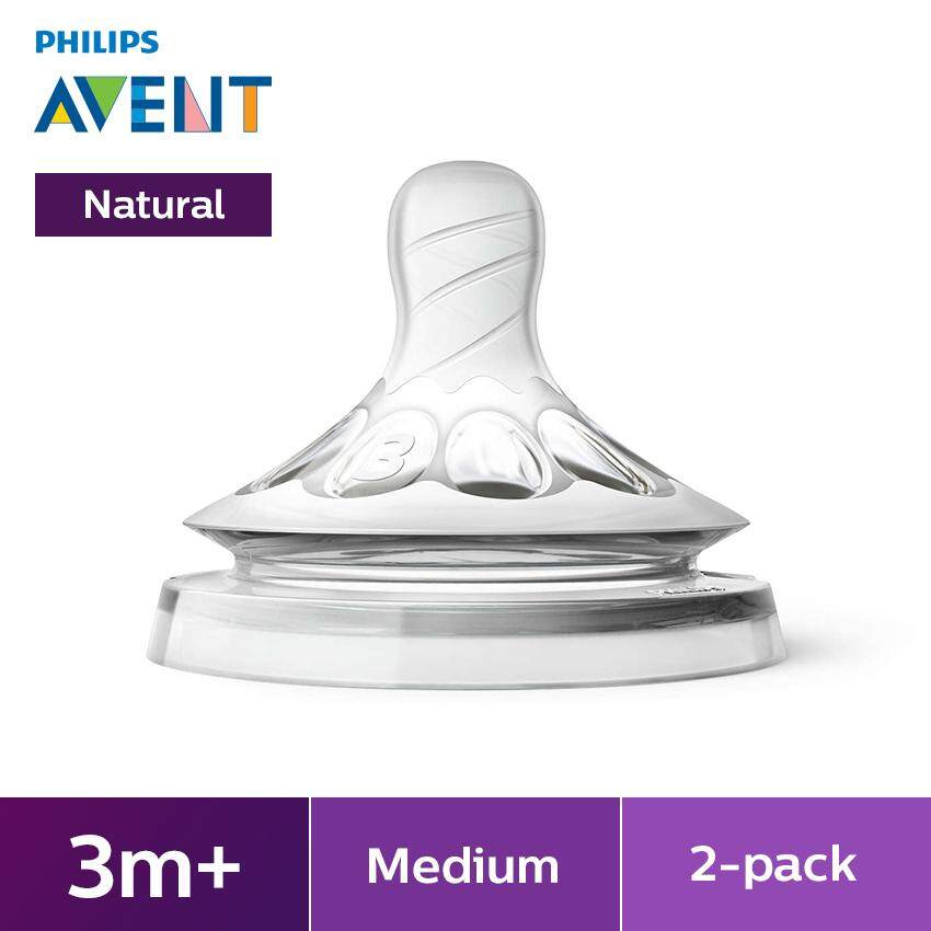 Philips Avent Natural Feeding Bottles Teats 3m+ 2h - 2 Pieces Scf653/23 By Philips Avent.