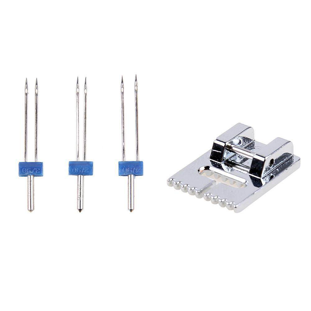 2/90 3/90 4/90 Sizes Double Twin Needles + Wrinkled Sewing Presser Foot for  Brother Sewing Machine Parts Househeld Tools