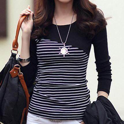 66d60d204dbe0 AIqi Korean style new fashion women stripe stitching color t-shirt TOP for  women
