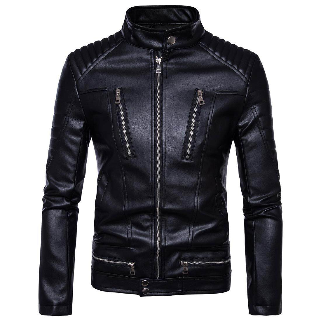 European Code Boutique Punk Men's Motorcycle Multi Zipper Fur Leather Jacket Jacket