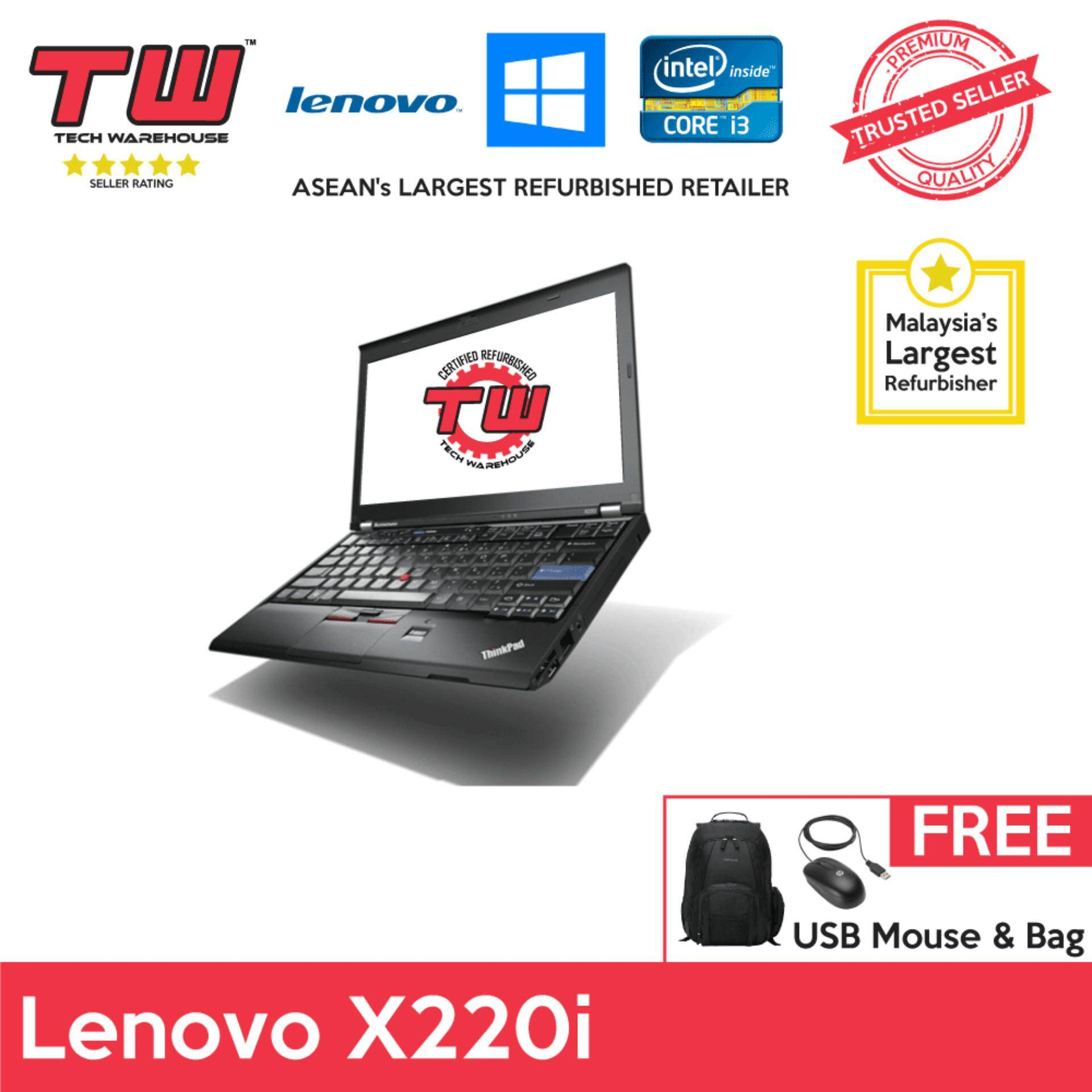 Lenovo ThinkPad X220i Core i3 2.3GHz / 4GB RAM / 250GB HDD / Windows 7 Laptop / 3 Months Warranty (Factory Refurbished) Malaysia