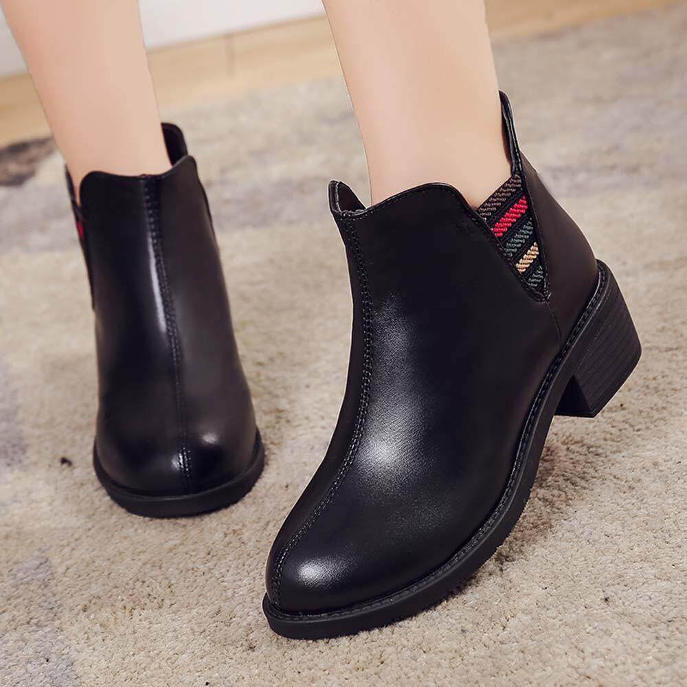 Guo Leather Women Boots Low Heels Autumn Winter Ankle Boots For Women Shoes By Hongshouguostore.