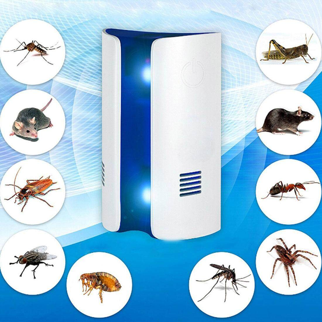 Electromagnetic Wave Frequency-conversion Double Waves Multi-function Mosquito Repellent Ultrasonic Pest Repeller, EU Plug(White)