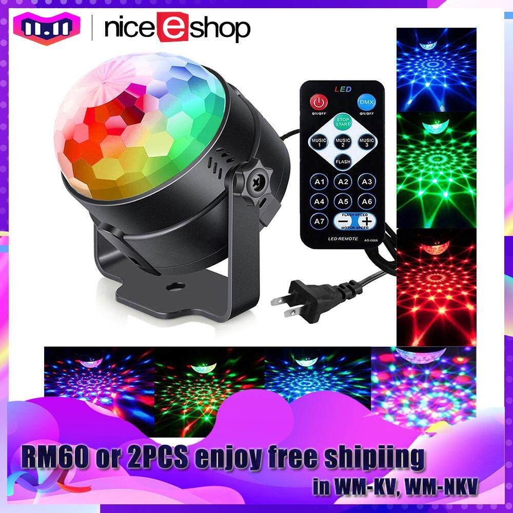 Niceeshop (us Plug)disco Ball Sound Activated With Remote,7 Colors Party Lights Multi Color Disco Light Rotating Crystal Magic Ball Projector Led Dj Lights Strobe Lights Show For Dance Karaoke Dj Bar Wedding By Nicee Shop.
