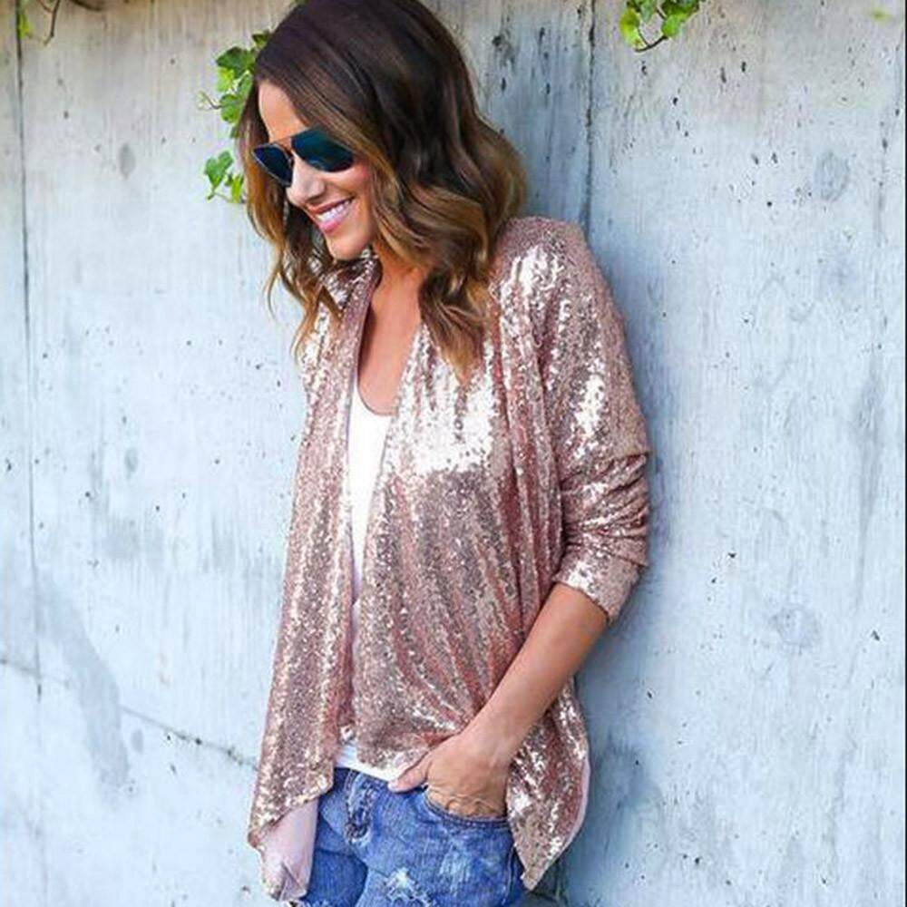 Kohlershop Women Long Sleeve Solid Sequined Irregular Cardigan Tops Cover Up Blouse By Kohlershop.