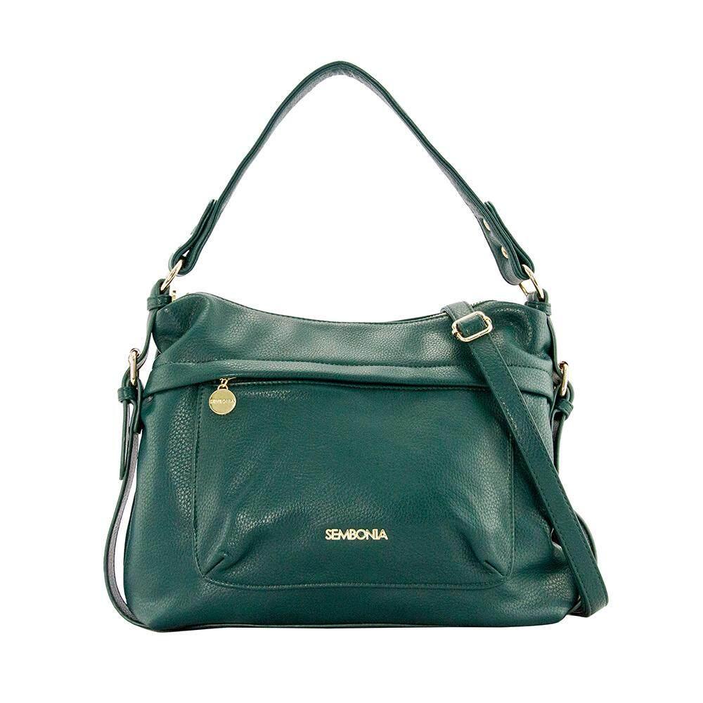 Sembonia Synthetic Leather Hobo Bag Green