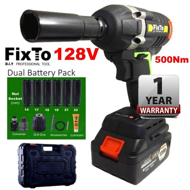 FixTo 500Nm High Torque Heavy Duty 128V Cordless Impact Wrench 1/2 Drill Screwdriver (Dual Battery Pack)