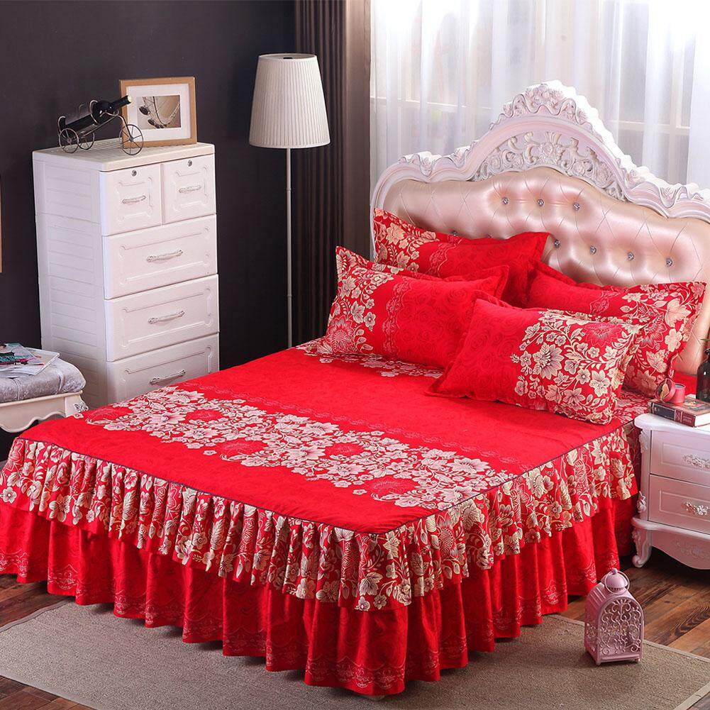 Coromose Floral Fitted Sheet Cover Graceful Bedspread Laced Fitted Sheet Bed Cover Skirt Wedding Housewarming Gift? Style:rich Flowers Dimensions:1.5x2 M Bed Skirt Single By Coromose.