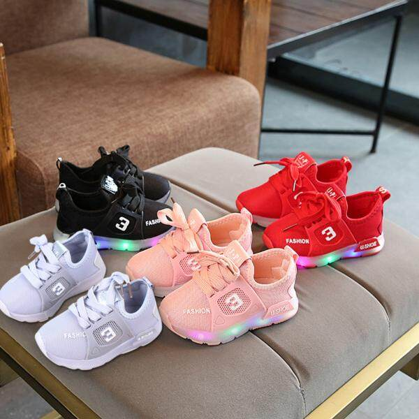 Unisex Children Led Light Shoes Sports Casual Anti-Skid Baby Breathable Shoes By Wangwang Store.
